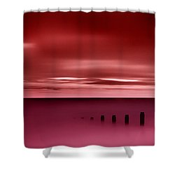 Long Red Sunset Shower Curtain