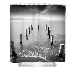 Long Silence Shower Curtain by Taylan Apukovska