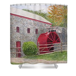 Shower Curtain featuring the painting Longfellow's Gristmill by Carol Flagg