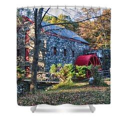 Longfellow's Wayside Inn Grist Mill In Autumn Shower Curtain by Jeff Folger