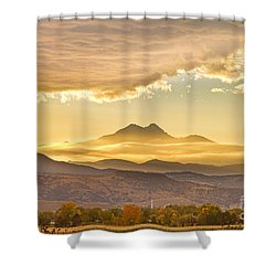 Longs Peak Autumn Sunset Shower Curtain