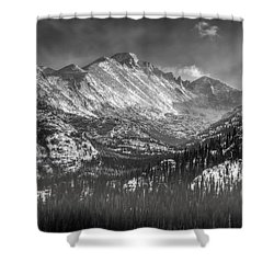Longs Peak Rocky Mountain National Park Black And White Shower Curtain by Ken Smith