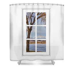 Longs Peak Winter View Through A White Window Frame Shower Curtain by James BO  Insogna