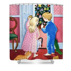 Look At The Christmas Tree Shower Curtain by Lavinia Hamer