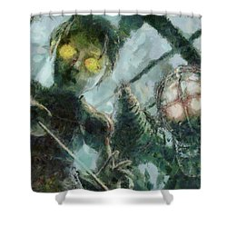Look Mr Bubbles An Angel Shower Curtain