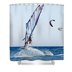 Look No Hands Shower Curtain by Stelios Kleanthous