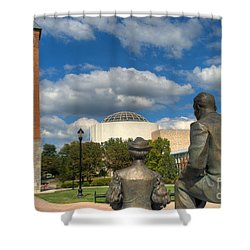 Look What They Built For Us Kitty Shower Curtain by Mark Dodd