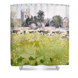 Looking Across Christ Church Meadows Shower Curtain by Lucy Willis