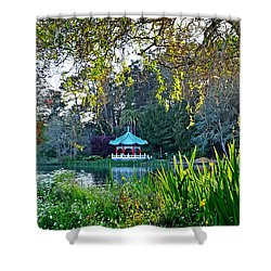 Looking Across Stow Lake At The Pagoda In Golden Gate Park Shower Curtain by Jim Fitzpatrick