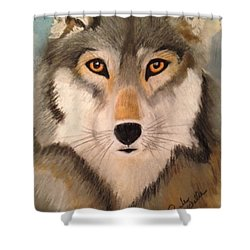 Looking At A Timber Wolf Shower Curtain