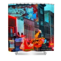 Looking Down Broadway In Nashville Tennessee Shower Curtain by Dan Sproul