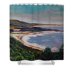 Looking Down On Half Moon Bay Shower Curtain by Carolyn Donnell
