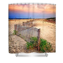 Looking Down The Beach Shower Curtain