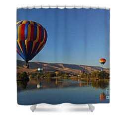 Looking For A Place To Land Shower Curtain by Mike  Dawson