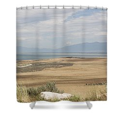 Looking North From Antelope Island Shower Curtain by Belinda Greb