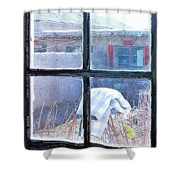 Shower Curtain featuring the photograph Looking Out The Kitchen Door In February by Ethna Gillespie