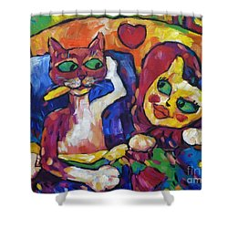 Shower Curtain featuring the painting Looking Swell Cats by Dianne  Connolly