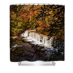 Looking Through Autumn Trees On To Waterfalls Fine Art Prints As Gift For The Holidays  Shower Curtain by Jerry Cowart