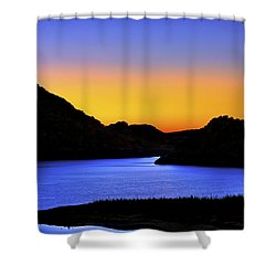 Looking Through The Quartz Mountains At Sunrise - Lake Altus - Oklahoma Shower Curtain by Jason Politte