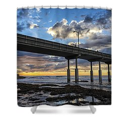 Looking Up At The Ob Pier Shower Curtain by Joseph S Giacalone