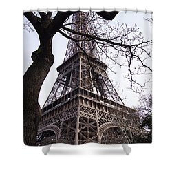Looking Up To Eiffel  Shower Curtain