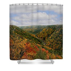 Looking Upriver At Blackwater River Gorge In Fall From Pendleton Point Shower Curtain