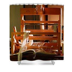 Shower Curtain featuring the digital art Loom In Winter Light by Aliceann Carlton