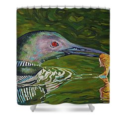 Loon Lunch Shower Curtain by Phil Chadwick