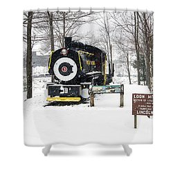 Loon Mountain Train Shower Curtain