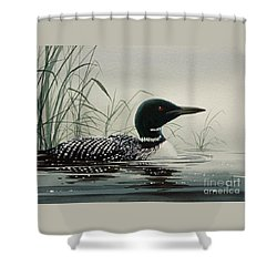 Loon Near The Shore Shower Curtain