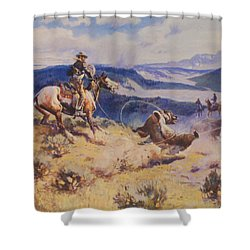Loops And Swift Horses Are Surer Then Lead Shower Curtain by Charles Russell