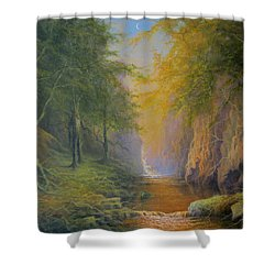 Lord Of The Rings Fangorn Treebeard Merry And Pippin Shower Curtain by Joe  Gilronan
