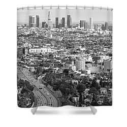 Los Angeles Basin And Los Angeles Skyline Black And White Monochrome Shower Curtain