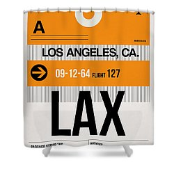 Los Angeles Luggage Poster 2 Shower Curtain by Naxart Studio