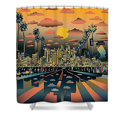 Los Angeles Skyline Abstract 2 Shower Curtain by Bekim Art
