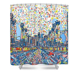 Los Angeles Skyline Abstract 3 Shower Curtain by Bekim Art