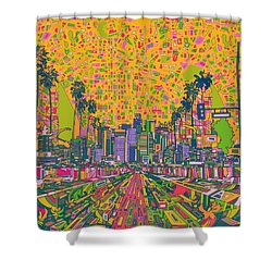 Los Angeles Skyline Abstract Shower Curtain