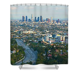 Los Angeles Skyline And Los Angeles Basin Panorama Shower Curtain