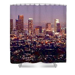 Los Angeles Skyline At Dusk Shower Curtain