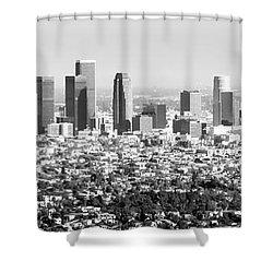 Los Angeles Skyline Panorama Photo Shower Curtain by Paul Velgos