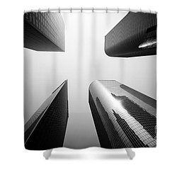 Los Angeles Skyscraper Buildings In Black And White Shower Curtain by Paul Velgos