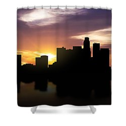 Los Angeles Sunset Skyline  Shower Curtain by Aged Pixel