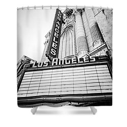 Los Angeles Theatre Sign In Black And White Shower Curtain by Paul Velgos