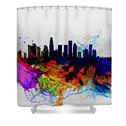 Los Angeles  Watercolor Skyline 2 Shower Curtain by Naxart Studio