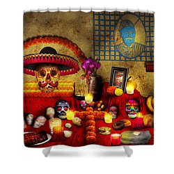 Los Dios Muertos - Rembering Loved Ones Shower Curtain by Mike Savad