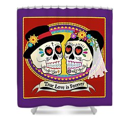 Los Novios Sugar Skulls Shower Curtain