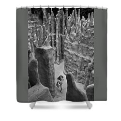Lost In A Black And White Dream Shower Curtain