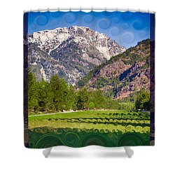 Lost River Airport Runway Abstract Landscape Painting Shower Curtain