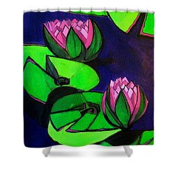 Lotus 2 Botanical Flowers Shower Curtain