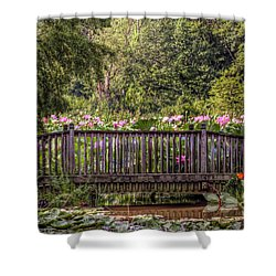 Shower Curtain featuring the photograph Lotus Garden Pond And Bridge by Jerry Gammon